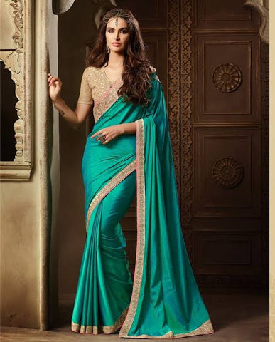 Peacock Blue Saree With Golden Border