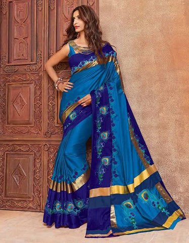 Peacock Blue Wedding Saree