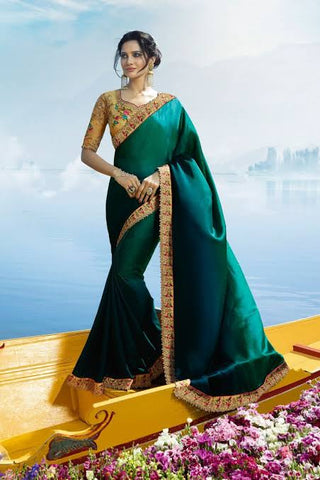 Peacock Colour Silk Saree