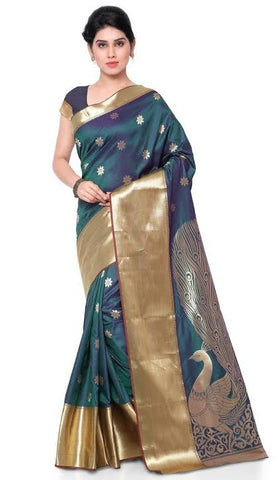 Peacock Green Color Silk Saree