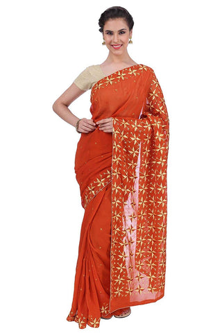 Phulkari Georgette Saree