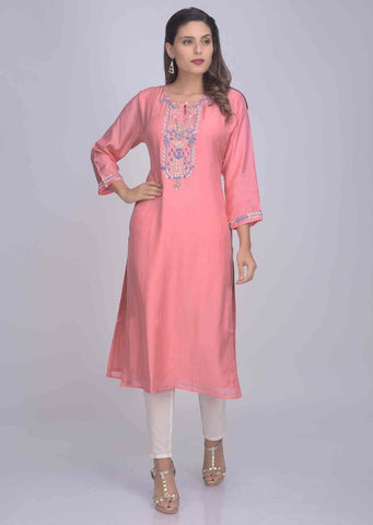 Pink Kurti With Embroidery