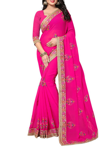 Pink Georgette Embroidery Saree