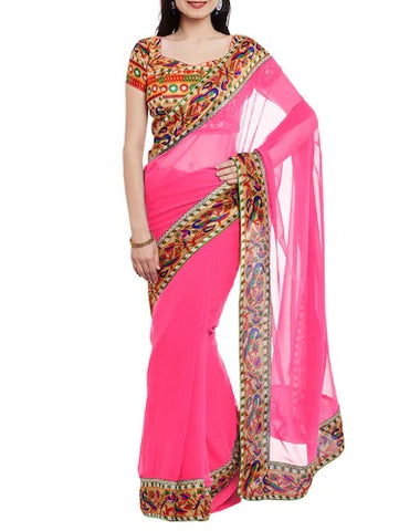 Pink silk saree with contrary blouse