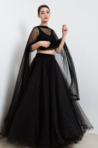 Plain Black Lehenga Skirt