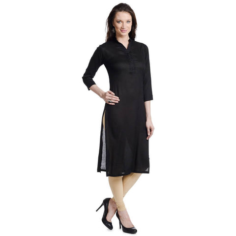 Plain Black Long Kurti