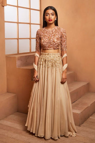 Plain Golden Lehenga Skirt