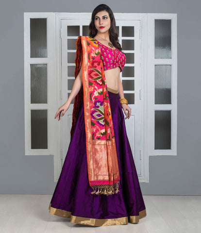 Plain Lehenga With Banarasi Dupatta