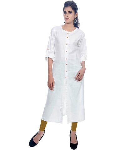 Plain White Long Kurti
