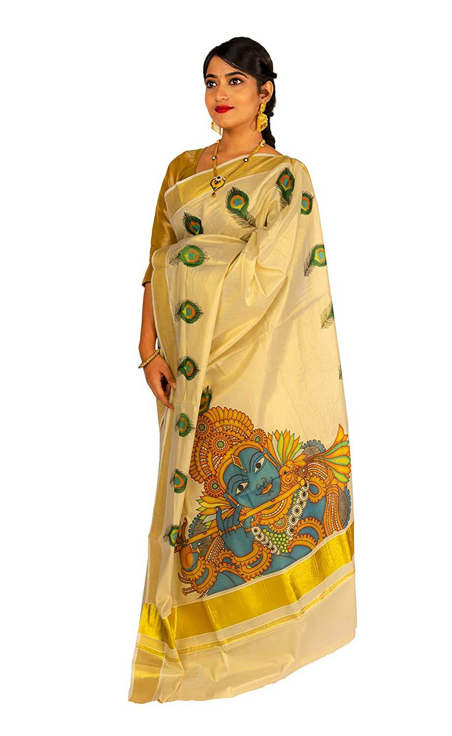 Printed Kasavu Saree