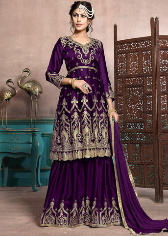 Purple Sharara Lehenga