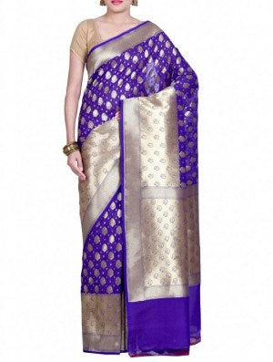 Purple Banarsi Saree
