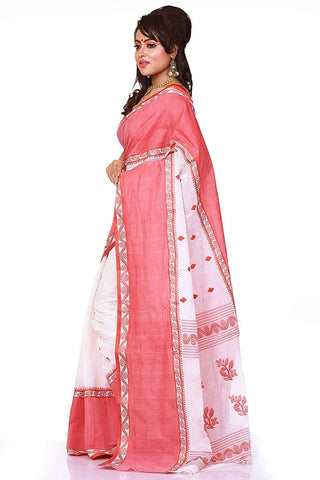 Red And White Handloom Saree