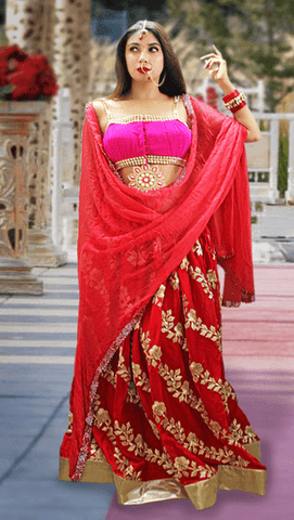 Red Lehenga Skirt