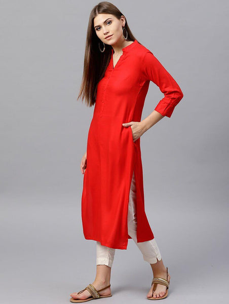Red Straight Kurti