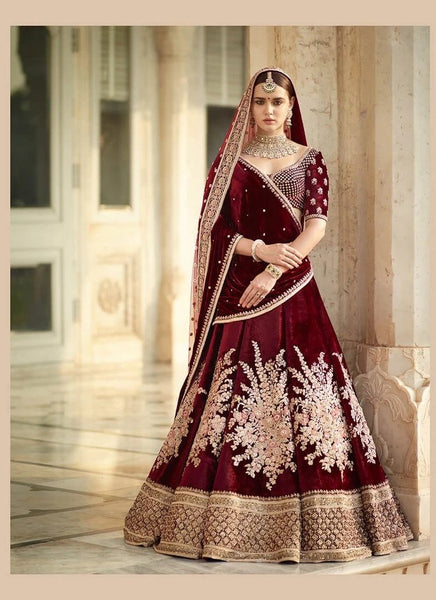 Red Wine Colour Bridal Lehenga