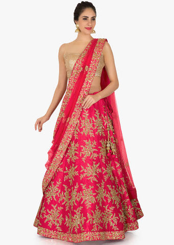 Red Party Wear Lehenga