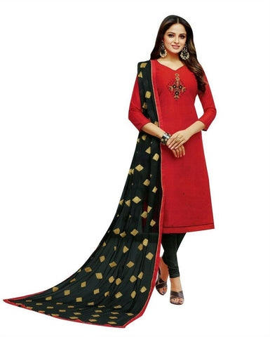 Red Plain Full Gown With Chiffon Dupatta