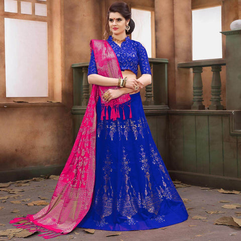 Royal Blue Banarasi Lehenga