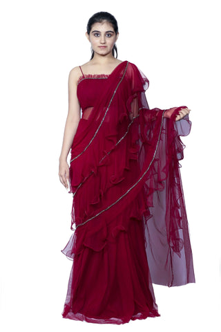 Ruffle Saree Gown