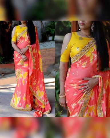 Shibory Print Embroidery Saree