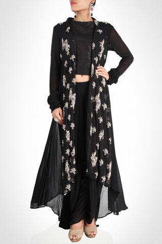 Shrug with dhoti and crop top