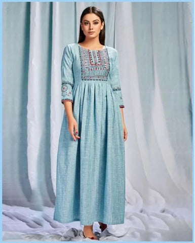 Sky Blue Long Gown Kurtis