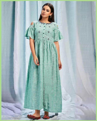 Sky Blue Long Gown Type Kurtis