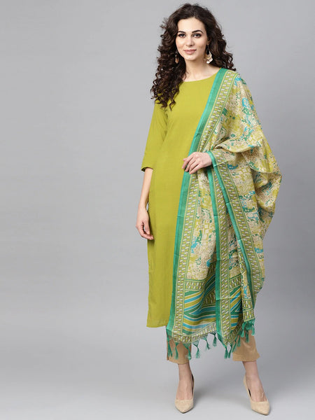 Straight Kurti With Dupatta