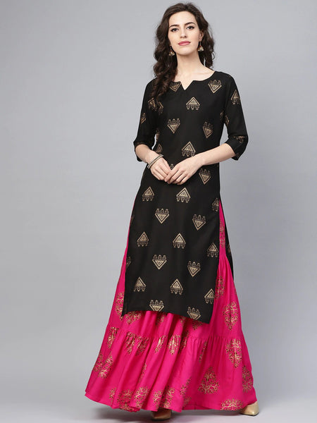 Straight Kurti With Skirt