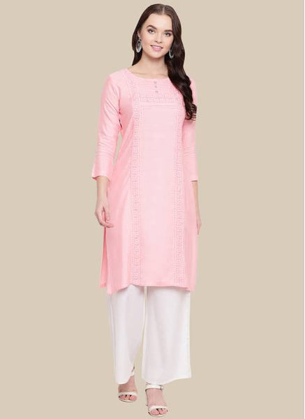 Straight Peach Color Kurti