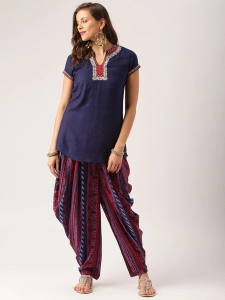 Straight Short Kurti With Dhoti Pants