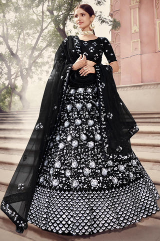 Stunning black lehenga with silver embroidery