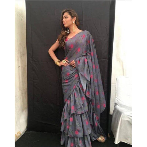 Tiered Ruffle Saree