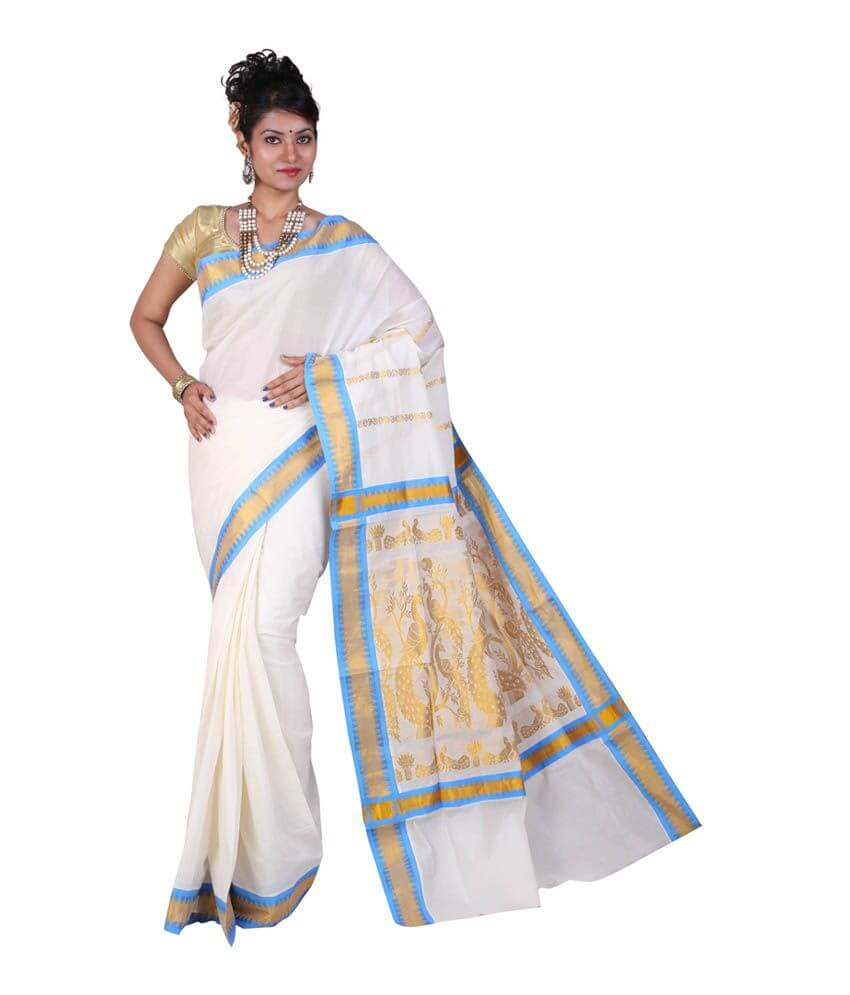 White Kasavu Saree