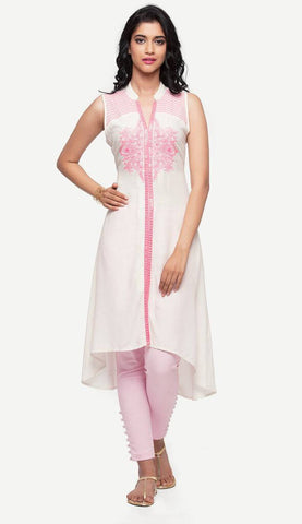 White Kurti With Pink Embroidery