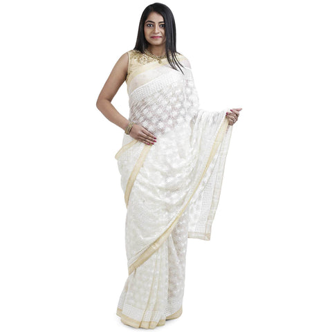 Buy White Phulkari saree