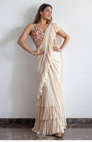White Ruffle Saree