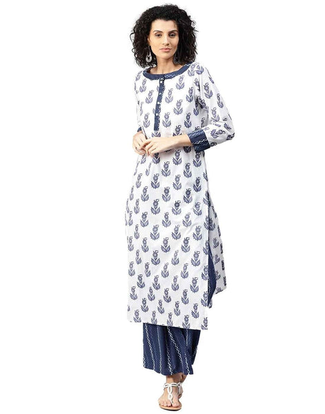 White Straight Long Kurti