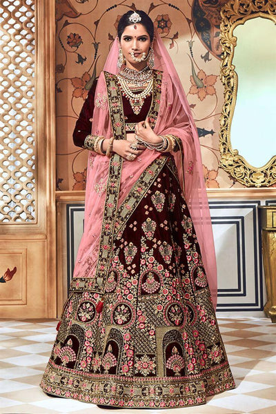 Wine Colour Bridal Lehenga
