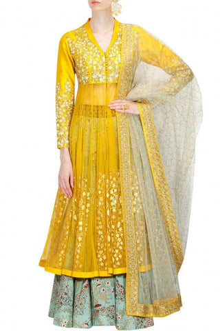 Yellow Sharara Lehenga