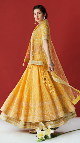 Yellow embroidery silk Lehenga