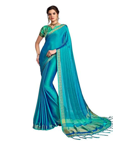 Plain Peacock Green Saree