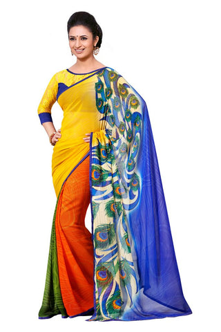 Peacock Work Saree