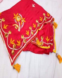 Red Chiffon Gota Resham Saree