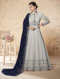 Grey Heavy Gown Suit Embroidered Dressmaterial