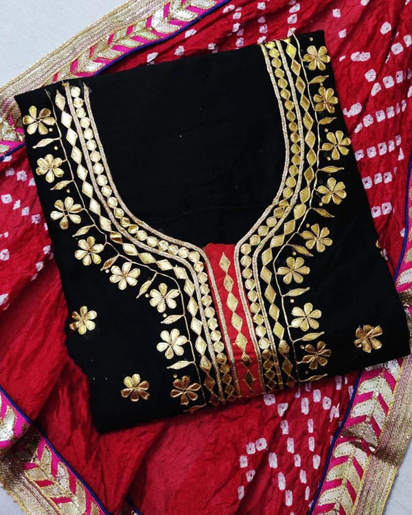 Black Chanderi Gotta Patti Dress Material With Bandhani Dupatta