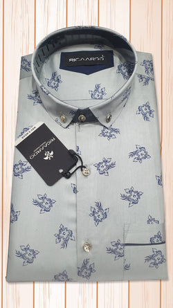 Light Blue Floral Print Shirt