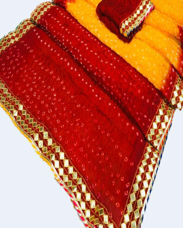 Bandhej Butta Red Contrast Saree