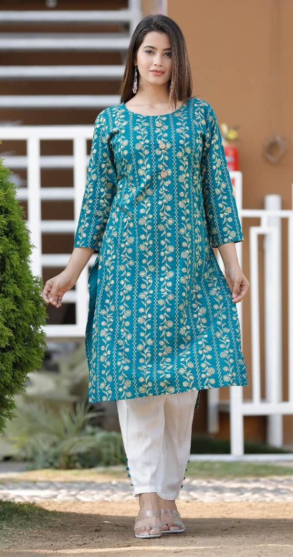 Beautiful Heavy Rayon kurti Blue Color